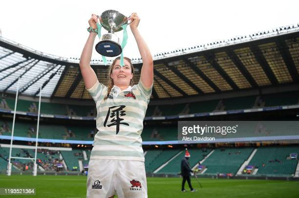 Fiona Shuttleworth of Cambridge poses with the Varsity Trophy after the Oxford University vs Cambridge University Women's Varsity match at Twickenham...