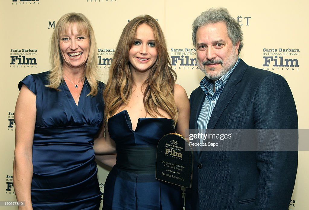 Fiona Stone actress Jennifer Lawrence and SBIFF president Douglas Stone attend the 28th Santa Barbara International Film Festival Outstanding Performer Of The Year Presented To Jennifer Lawrence on February 2, 2013 in Santa Barbara, California.