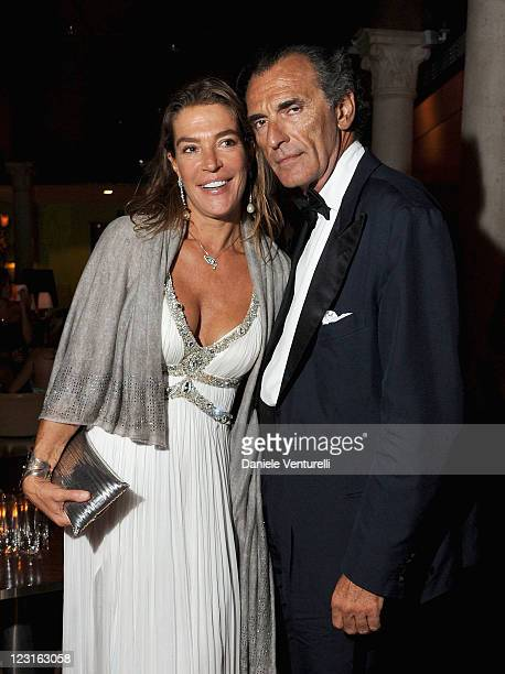 Fiona Swarovski and Ferdinando Brachetti Peretti attend the unveiling of Future Freedom The Annual Human Rights Award at Palazzina Grassi on August...