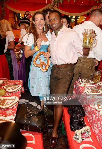Fiona Swarovski and Haddaway attend the Oktoberfest 2009 at Hippodrom at the Theresienwiese on September 20 2009 in Munich Germany Oktoberfest is the...