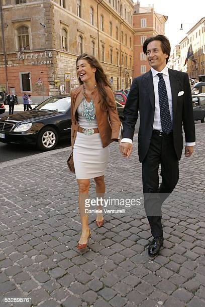 Fiona Swarovski and Karl Hainz Grasser during Elle Macpherson and Arpad Busson in Rome for the Baptism of their Son Aurelius cy Andrea at Basilica...