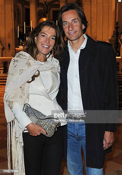 Fiona Swarovski and Karl Heinz Grasser attend Swarovski Foundation and John Pawson Perspectives Cocktail Party at Basilica di San Giorgio on May 30,...