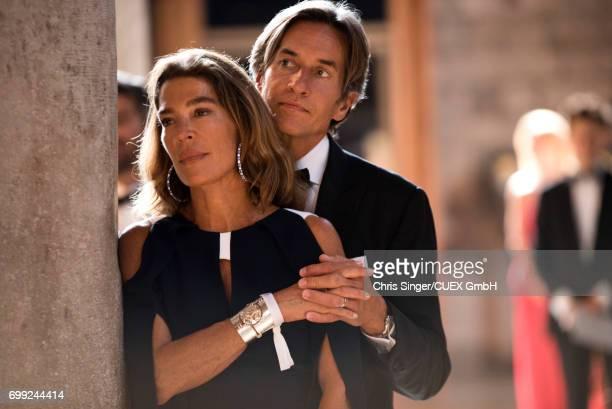 Fiona Swarovski and KarlHeinz Grasser attend the wedding of Victoria Swarovski and Werner Muerz on June 16 2017 in Trieste Italy