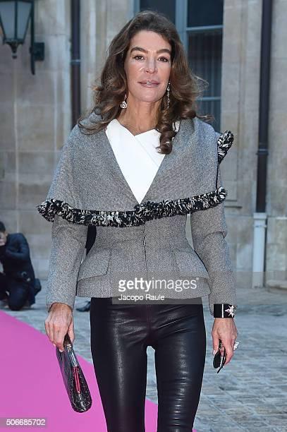 Fiona Swarovski arrives at Schiapparelli fashion show Paris Fashion Week Haute Coture Spring /Summer 2016 on January 25 2016 in Paris France