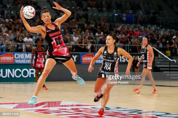 Fiona Themann of the Thunderbirds receives a pass during the round four Super Netball match between the Magpies and the Thunderbirds at Hisense Arena...