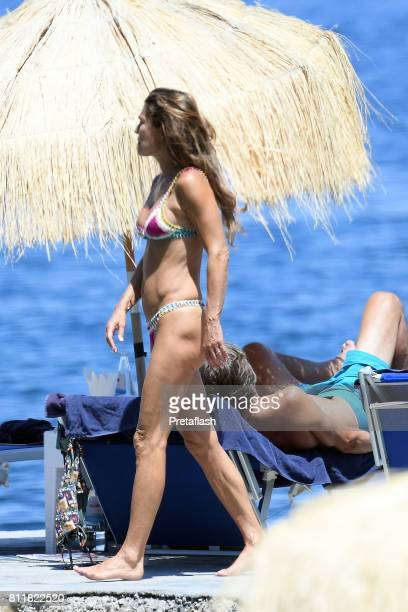 Fiona Winter Swarovski and Karl Heinz Grasser are seen on July 10 2017 in Ischia Italy