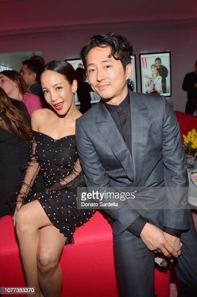 Fiona Xie and Steven Yeun attend W Magazine Celebrates Its 'Best Performances' Portfolio and the Golden Globes with Audi and Giorgio Armani Beauty at...