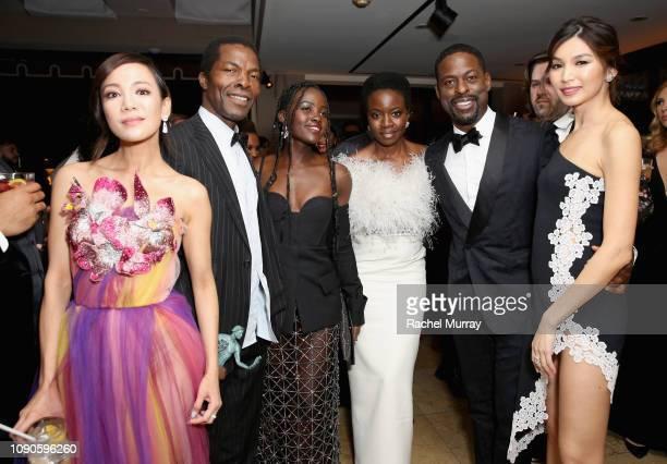 Fiona Xie Isaach de Bankolé Lupita Nyong'o Danai Gurira Sterling K Brown and Gemma Chan attend Netflix 2019 SAG Awards after party at Sunset Tower...