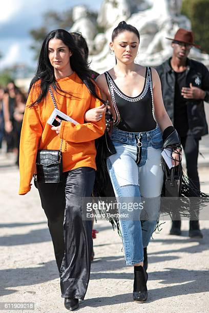 Fiona Zanetti and Kristina Bazan are seen outside the Elie Saab show during Paris Fashion Week Spring Summer 2017 at the Tuileries garden on October...