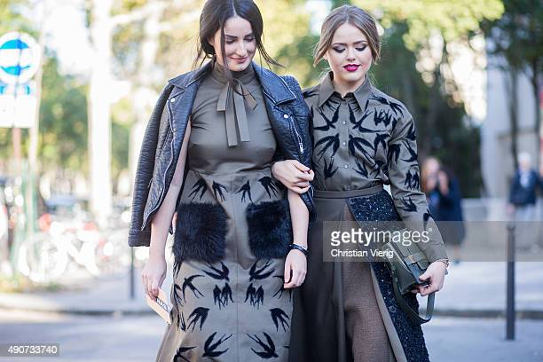 Fiona Zanetti and Kristina Bazan wearing Rochas during Paris Fashion Week Womenswear Spring/Summer 2016 on September 30 2015 in Paris France