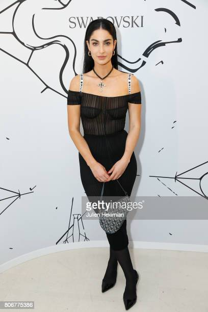 Fiona Zanetti attends the Iris Van Herpen X Swarovski Cocktail Haute Couture Fall/Winter 20172018 show as part of Haute Couture Paris Fashion Week on...
