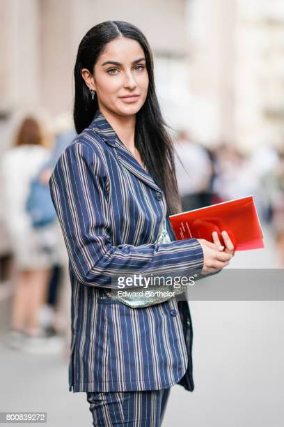 Fiona Zanetti is seen outside the Kenzo show during Paris Fashion Week Menswear Spring/Summer 2018 on June 25 2017 in Paris France