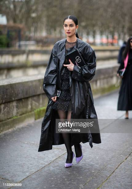 Fiona Zanetti is seen wearing black leather coat outside Valentino during Paris Fashion Week Womenswear Fall/Winter 2019/2020 on March 03 2019 in...