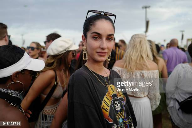 Fiona Zanetti wearing a band shirt and Fendi bag during day 3 of the 2018 Coachella Valley Music & Arts Festival Weekend 1 on April 15, 2018 in...