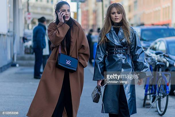 Fiona Zanetti wearing a brown wool coat and a black Louis Vuitton bag and Kristina Bazan is wearing a Dior bag a black Zana Bayne belt a BreeLayne...