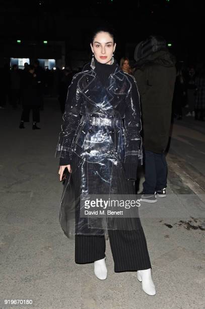 Fiona Zanetti wearing Burberry at the Burberry February 2018 show during London Fashion Week at Dimco Buildings on February 17 2018 in London England