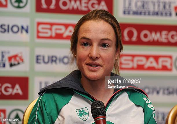 Fionnuala Britton of Ireland talks to the media during a press conference for the 19th SPAR European Cross Country Championships at the Ramada...