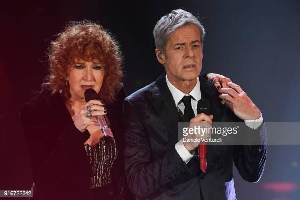 Fiorella Mannoia and Claudio Baglioni attend the closing night of the 68 Sanremo Music Festival on February 10 2018 in Sanremo Italy