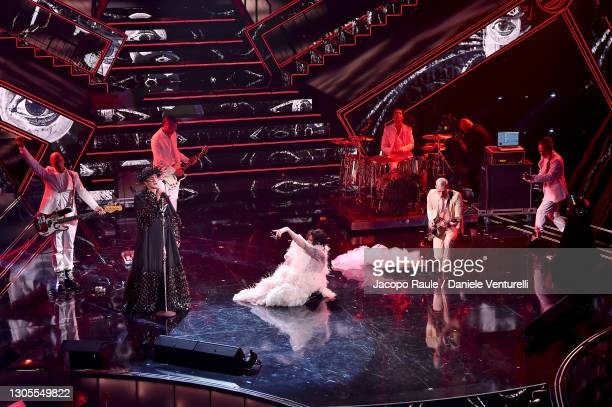 Fiorello, Achille Lauro and Boss Doms are seen on stage during the 71th Sanremo Music Festival 2021 at Teatro Ariston on March 05, 2021 in Sanremo,...