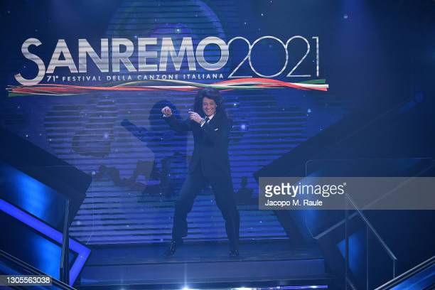 Fiorello is seen on stage during the 71th Sanremo Music Festival 2021 at Teatro Ariston on March 05, 2021 in Sanremo, Italy.