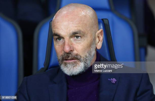 Fiorentina coach Stefano Pioli looks on before the serie A match between Atalanta BC and ACF Fiorentina at Stadio Atleti Azzurri d'Italia on February...