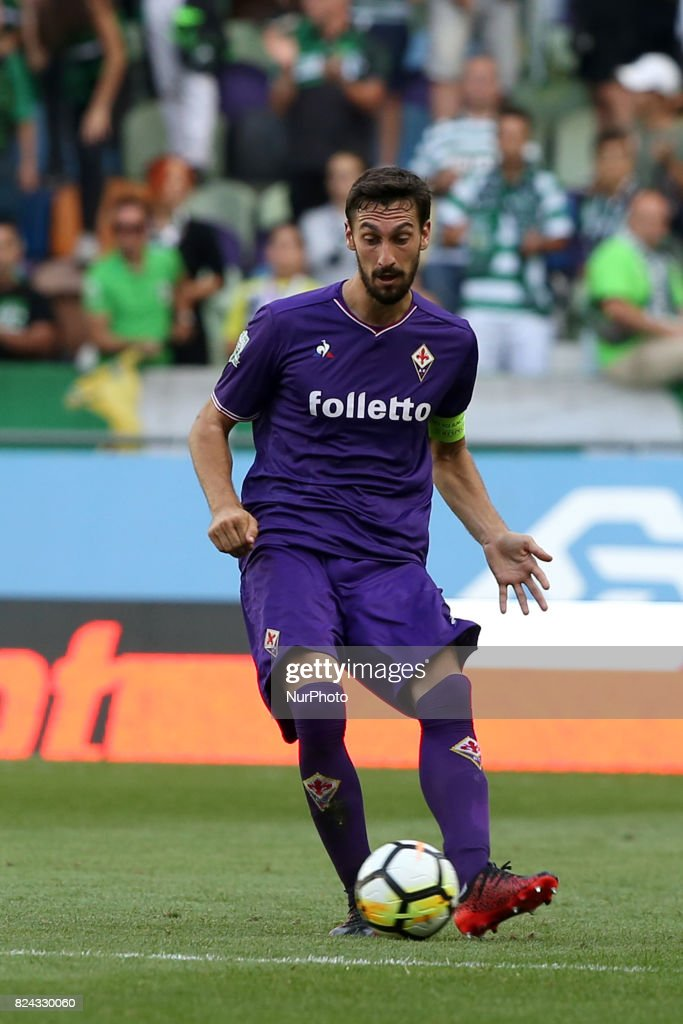 Fiorentina defender Davide Astori from Italy in action during the Trophy Five Violins 2017 final football match Sporting CP vs ACF Fiorentina at Alvadade stadium in Lisbon, Portugal on July 29, 2017.