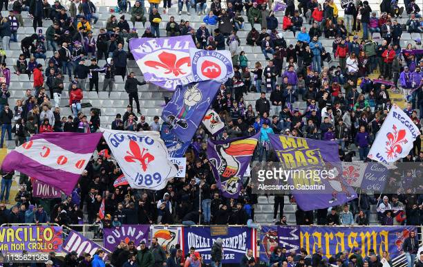 Fiorentina fans cheer for their team prior the Serie A match between ACF Fiorentina and Frosinone Calcio at Stadio Artemio Franchi on April 7 2019 in...