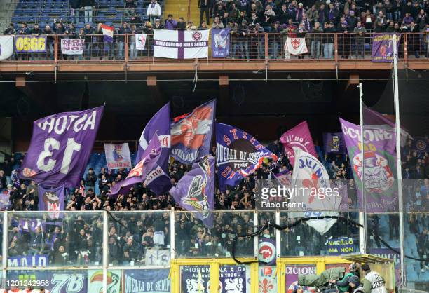 Fiorentina fans during the Serie A match between UC Sampdoria and ACF Fiorentina at Stadio Luigi Ferraris on February 16 2020 in Genoa Italy