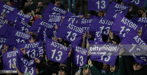 Fiorentina fans pay a tribute to Davide Astori a football player of ACF Fiorentina found dead one year ago during the Serie A match between Atalanta...