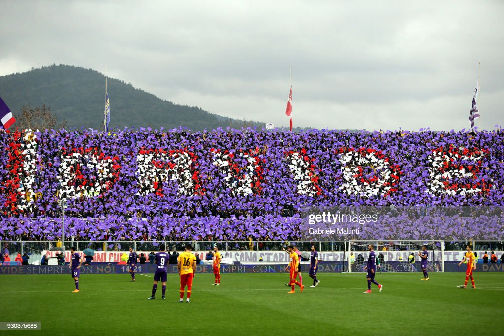 ACF Fiorentina fans remember Captain Davide Astori during the serie A match between ACF Fiorentina and Benevento Calcio at Stadio Artemio Franchi on March 11, 2018 in Florence, Italy.
