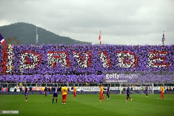 Fiorentina fans remember Captain Davide Astori during the serie A match between ACF Fiorentina and Benevento Calcio at Stadio Artemio Franchi on...