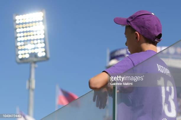 Fiorentina football fan with Tshirt in memory of Davide Astori DA13 captain of the ACF Fikorentina during the Serie A match between ACF Fiorentina...