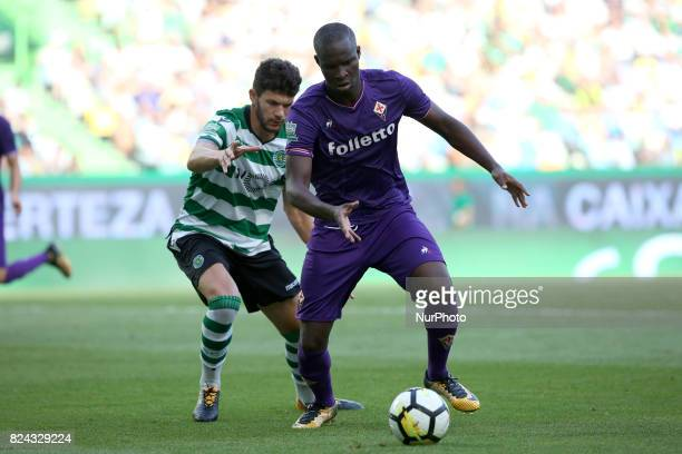 Fiorentina forward Khouma Babacar from Senegal vies with Sporting CP defender Tobias Figueiredo from Portugal during the Trophy Five Violins 2017...