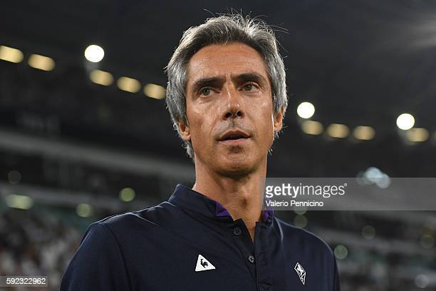 Fiorentina head coach Paulo Sousa looks on during the Serie A match between Juventus FC and ACF Fiorentina at Juventus Arena on August 20 2016 in...
