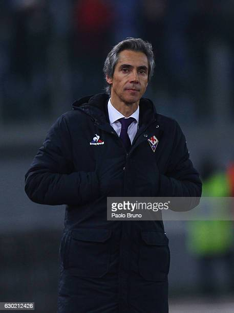 Fiorentina head coach Paulo Sousa looks on during the Serie A match between SS Lazio and ACF Fiorentina at Stadio Olimpico on December 18 2016 in...