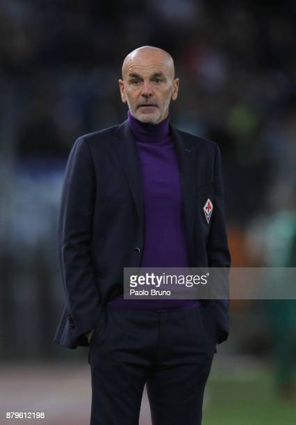 Fiorentina head coach Stefano Pioli looks on during the Serie A match between SS Lazio and ACF Fiorentina at Stadio Olimpico on November 26 2017 in...