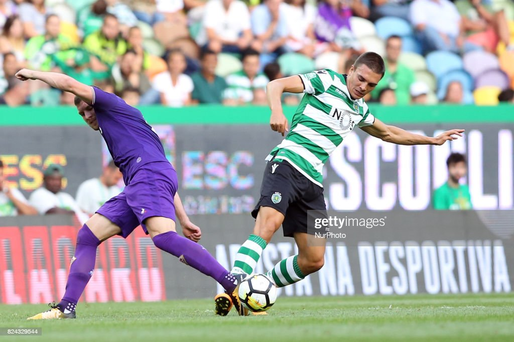 Fiorentina midfielder Jordan Veretout from France (L ) fights for the ball with Sporting CP midfielder Joao Palhinha from Portugal (R ) during the Trophy Five Violins 2017 final football match Sporting CP vs ACF Fiorentina at Alvadade stadium in Lisbon, Portugal on July 29, 2017.
