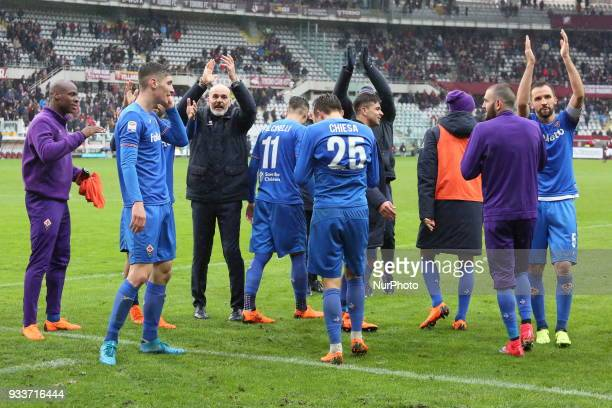 ACF Fiorentina players celebrate the victory against Torino FC after the Serie A football match at Olympic Grande Torino Stadium on 18 March 2018 in...