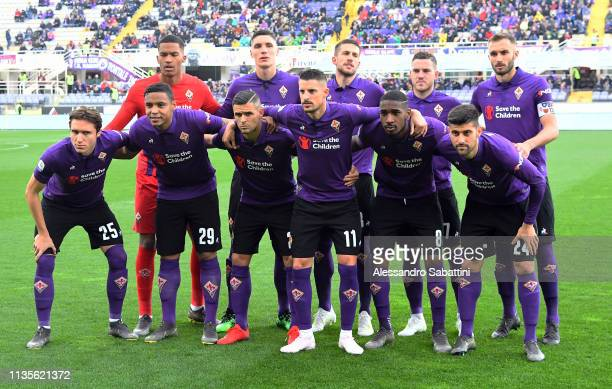 Fiorentina players line up prior the Serie A match between ACF Fiorentina and Frosinone Calcio at Stadio Artemio Franchi on April 7 2019 in Florence...