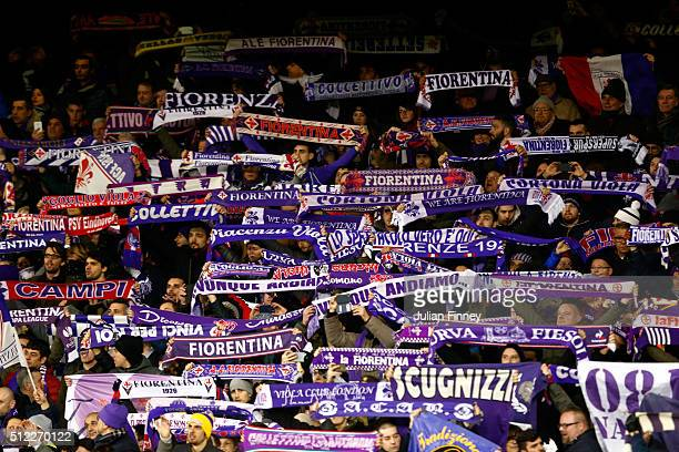 Fiorentina supporters cheer prior to the UEFA Europa League round of 32 second leg match between Tottenham Hotspur and Fiorentina at White Hart Lane...