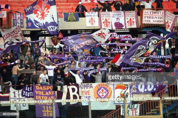 Fiorentina supporters during the Serie A between Calcio Catania and ACF Fiorentina at Stadio Angelo Massimino on January 19 2014 in Catania Italy