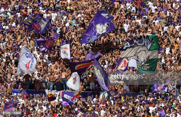 Fiorentina supporters during the Serie A match Fiorentina v Juventus at the Artemio Franchi Stadium in Florence Italy on September 14 2019
