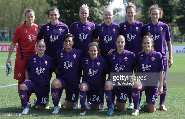 Fiorentina Women team line up prior to the Serie A match between AC Milan Women and Fiorentina Women at Campo Sportivo Vismara on September 30 2018...