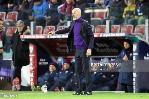 Fiorentina's coach Stefano Pioli reacts during the Serie A match between Cagliari and ACF Fiorentina at Sardegna Arena on March 15 2019 in Cagliari...