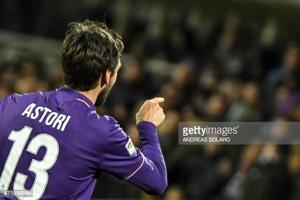 Fiorentina's defender from Italy Davide Astori celebrates after scoring during the Italian Serie A football match Fiorentina vs Inter Milan on April...