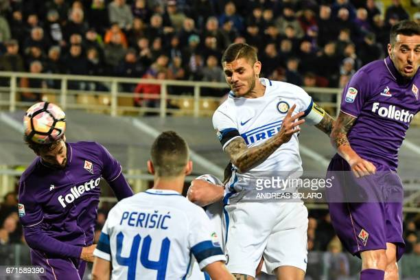 Fiorentina's defender from Italy Davide Astori scores during the Italian Serie A football match Fiorentina vs Inter Milan on April 22 2017 at...
