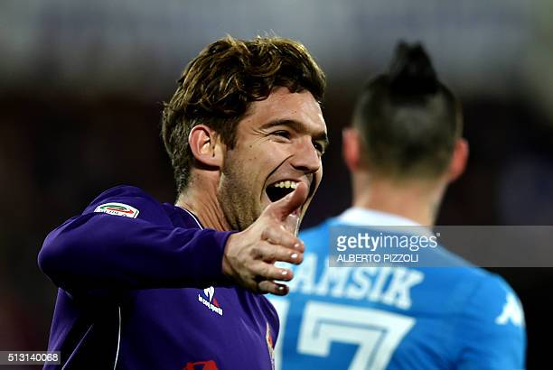 Fiorentina's defender from Spain Marcos Alonso Mendoza celebrates after scoring during the Italian Serie A football match Fiorentina vs Napoli on...