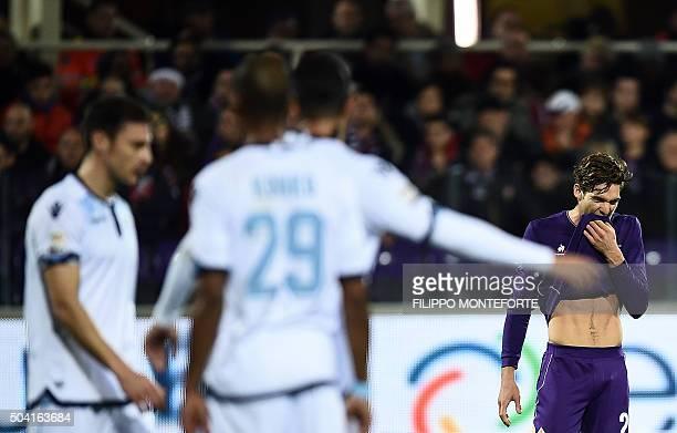 Fiorentina's defender from Spain Marcos Alonso Mendoza reacts during the Italian Serie A football match Fiorentina vs Lazio at the Artemio Franchi...
