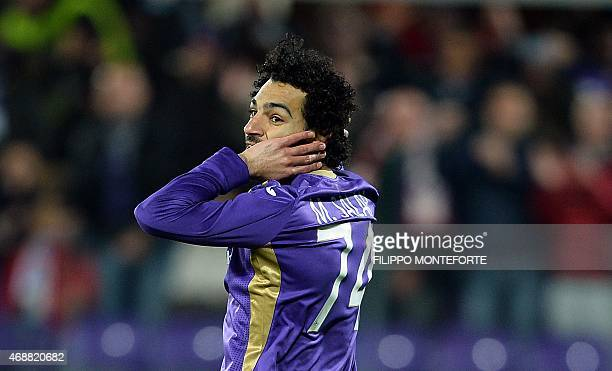Fiorentina's forward Mohamed Salah Ghaly of Egypt reacts during the Italian Tim Cup semifinal return football match Fiorentina vs Juventus at the...