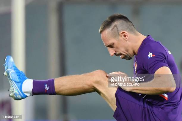 Fiorentina's French forward Franck Ribery warms up prior to the Italian Serie A football match Fiorentina vs Napoli on August 24 2019 at the...